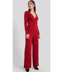 na-kd overlap wide leg jumpsuit - red