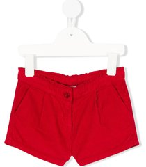 knot scalloped corduroy shorts - red
