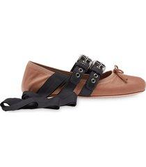 miu miu belted ballerina shoes - brown