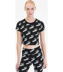 amplified aop fitted t-shirt voor dames, zwart, maat xxs | puma