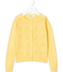 bonpoint perforated cherry cardigan - yellow