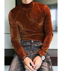 hombres guapo rayas textura delgado manga larga terciopelo alto cuello camisetas
