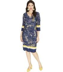 vestido manga 3,4 estampado azul lorenzo di pontti