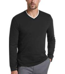 joe joseph abboud black slim-fit v-neck knit sweater