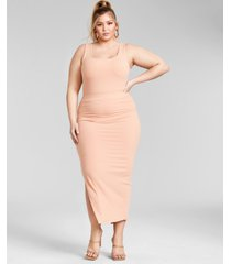 nina parker trendy plus size ribbed knit midi skirt, created for macy's