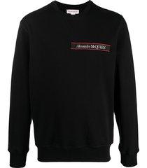 alexander mcqueen selvedge logo-tape crew neck sweatshirt - black