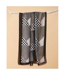lenço em viscose - lenço roosevelt cor: preto - tamanho: único