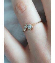 kamień księżycowy i diamenty- pierścionek