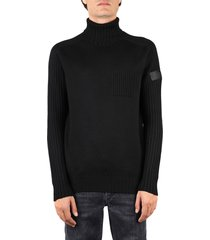 hogan black wool ribbed pullover