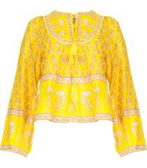 blouse met bloemenprint mori  geel