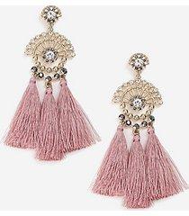 rhinestone tassel drop earrings - pink