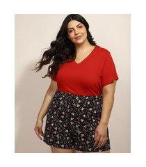 pijama feminino plus size com estampa floral manga curta preto
