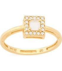 anel quadrado com cristal jateado e zircônias rommanel