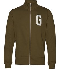 d1. graphic zip-through sweat sweat-shirt trui groen gant