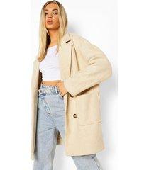 oversized nepwollen jas met dubbele knopen, stone