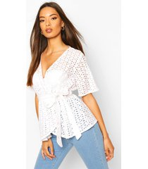 broderie wrap kimono sleeve belted top, white