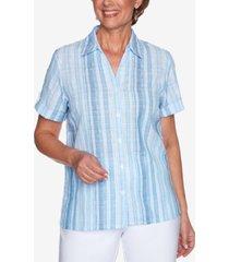 alfred dunner petite classics textured striped shirt