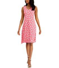 anne klein asymmetrical botanical-print dress