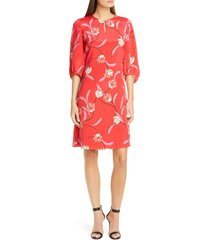 women's st. john collection spring floral print silk dress
