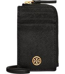 women's tory burch robinson saffiano leather card case lanyard - black