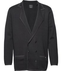 new longer length double breasted knitted blazer gebreide trui cardigan blauw scotch & soda