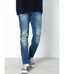 dr denim clark ripped and repaired jeans ripped blue