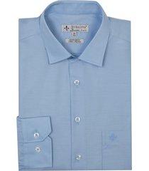 camisa dudalina tricoline lisa masculina (azul medio, 48)