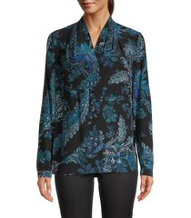 kobi halperin women's sharlene print silk blouse - midnight blue - size xs