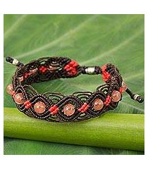 glass bead braided bracelet, 'peach roses' (thailand)