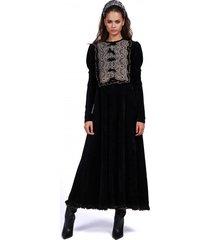 sukienka crown lace velvet long