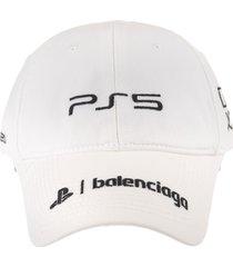 balenciaga man white playstation baseball cap