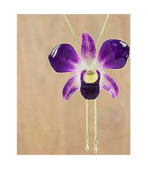gold accent natural orchid pendant necklace, 'orchid majesty' (thailand)
