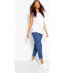 zwangerschap over the bump boyfriend jeans met opgerolde pijpen, middenblauw