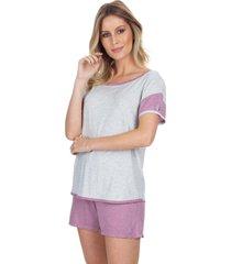 pijama curto inspirate cassis multicolorido branco - kanui