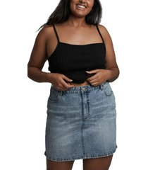 cotton on trendy plus size denim mini skirt