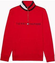 tommy hilfiger women's essential quarter zip logo sweatshirt scarlet - xs