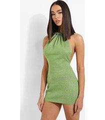gebreide space dye jurk met halter neck, green