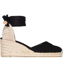 castañer carina 60 ankle-tie wedge sandals - black