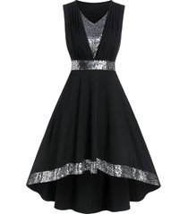 sequin panel sleeveless high low prom dress