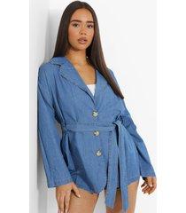 baggy chambray blazer met ceintuur en zakken, mid blue