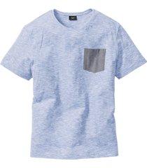 melerad t-shirt, med chambrayficka