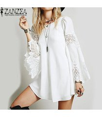 zanzea womens lace crochet splice hollow out flare sleeve cóctel suelto sexy party casual mini camisa vestido vestido plus off white -blanco