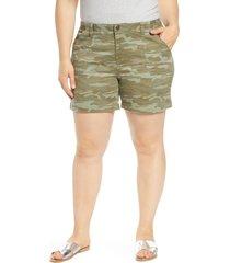 plus size women's caslon utility shorts, size 24 - green