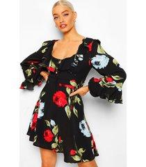bloemenprint mini jurk met ruches en strik, black