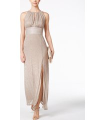 r & m richards metallic knit keyhole halter gown
