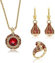 collane di fascino di cristallo di dichiarazione di cristallo rosso di lusso collane di orecchini di goccia di stella per le donne