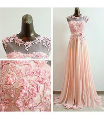 charming high neck pink appliques beads long chiffon prom/party/evening dress