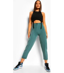 geweven slim fit broek met naaddetail, teal