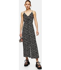 black tie front floral jumpsuit - black