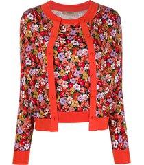 twin-set cardigan com sobreposição e estampa floral - vermelho